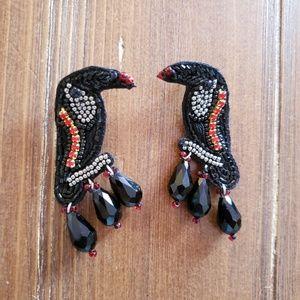 Beaded bird drop earrings, statement earrings